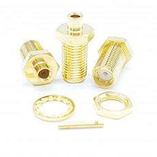 SMA Female Bulk Head UT-085 Soldering Connector(Gold)