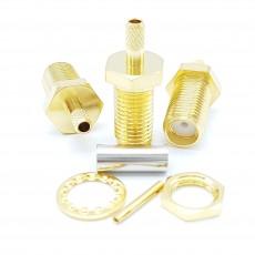 SMA Female Bulk Head RG-316 Crimp Connector(Gold)
