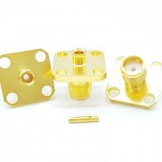 SMA Female 4Hole 50 Ohm UT-085 Soldering Connector(Gold)