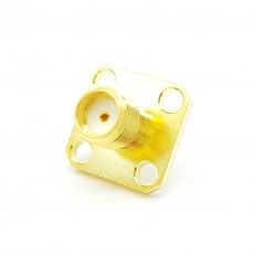 12.4GHz SMA(F) ST 4Hole Flange Connector-5-3mm (Gold)
